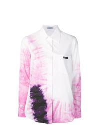 Camisa de vestir efecto teñido anudado blanca