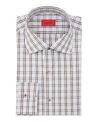 Camisa de vestir en blanco y marrón