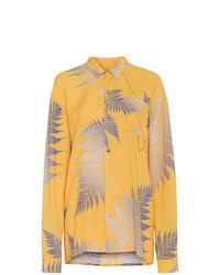 Camisa de vestir estampada amarilla