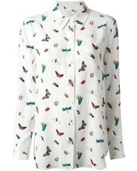 Camisa de vestir estampada blanca