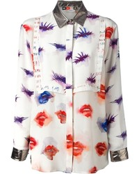 Camisa de vestir estampada blanca de MSGM
