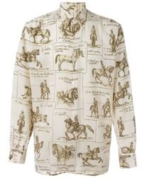 Camisa de vestir estampada en beige