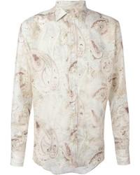 Camisa de vestir estampada en beige de Etro