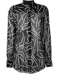 Camisa de vestir estampada en negro y blanco de Alexander Wang