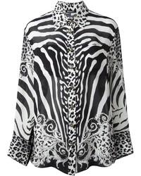 Camisa de vestir estampada en negro y blanco de Balmain