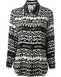 Camisa de vestir estampada en negro y blanco de Moschino
