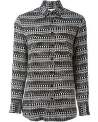 Camisa de vestir estampada en negro y blanco de Saint Laurent