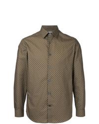 Camisa de vestir estampada marrón de Gieves & Hawkes