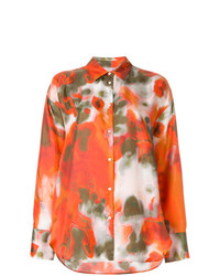 Camisa de vestir estampada naranja de MSGM