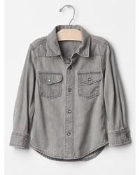 Camisa de vestir vaquera gris