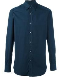 Camisa Estampada Azul Marino de Ermenegildo Zegna