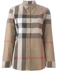 Camisa estampada marrón de Burberry