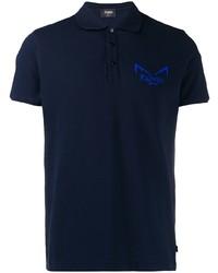 Camisa polo azul marino de Fendi