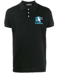 Camisa polo bordada negra de DSQUARED2