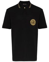 Camisa polo bordada negra de Versace