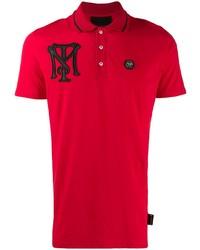 Camisa polo bordada roja de Philipp Plein