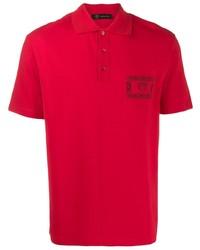 Camisa polo bordada roja de Versace