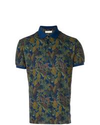 Camisa polo con print de flores azul marino de Etro