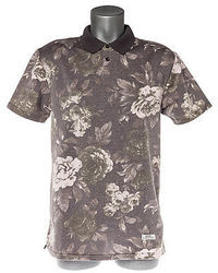 Camisa polo con print de flores gris