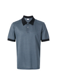 Camisa polo de lino de rayas horizontales azul de Brioni