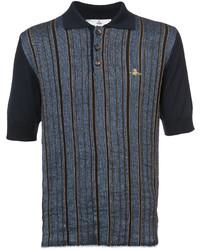 Camisa polo de lino de rayas verticales azul de Vivienne Westwood