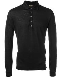 Camisa polo de lino negra de Massimo Alba