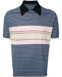 Camisa polo de rayas horizontales azul marino de Prada