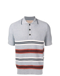 Camisa polo de rayas horizontales celeste de Marni