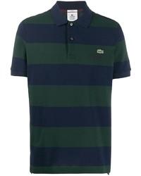 Camisa polo de rayas horizontales en azul marino y verde de lacoste live