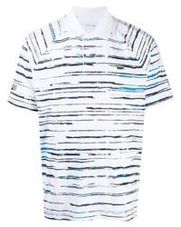 Camisa polo de rayas horizontales en blanco y azul marino de Lacoste