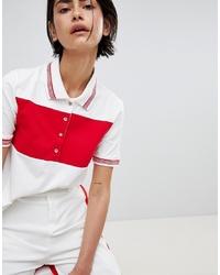 Camisa polo de rayas horizontales en blanco y rojo