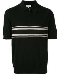 Camisa polo de rayas horizontales en negro y blanco de Brioni