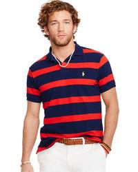 Camisa polo de rayas horizontales en rojo y azul marino