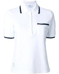 Camisa polo de rayas verticales blanca de Thom Browne