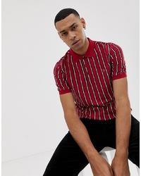 Camisa polo de rayas verticales roja