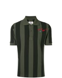 Camisa polo de rayas verticales verde oscuro