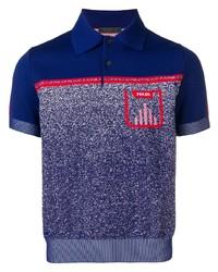 Camisa polo estampada azul marino de Prada