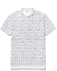 Camisa polo estampada blanca