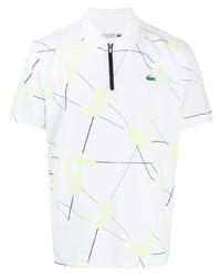 Camisa polo estampada blanca de Lacoste