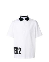 Camisa polo estampada en blanco y negro de DSQUARED2