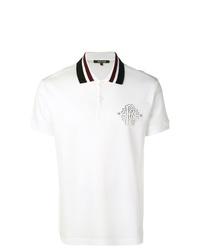 Camisa polo estampada en blanco y negro de Roberto Cavalli