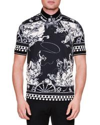 Camisa polo estampada en negro y blanco