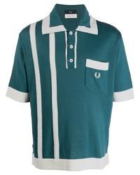Camisa polo estampada en verde azulado de Fred Perry