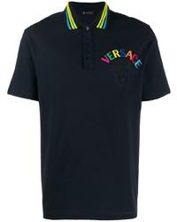 Camisa polo estampada negra de Versace