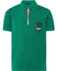 Camisa polo estampada verde de Prada