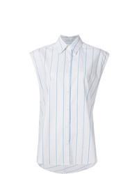 Camisa sin mangas de rayas verticales blanca