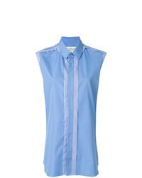Camisa sin mangas de rayas verticales celeste de Maison Margiela