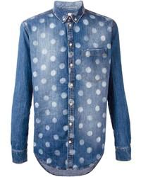 Camisa vaquera a lunares azul marino de MSGM