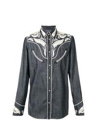 Camisa vaquera bordada azul marino de DSQUARED2
