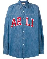 Camisa vaquera bordada azul de Gucci